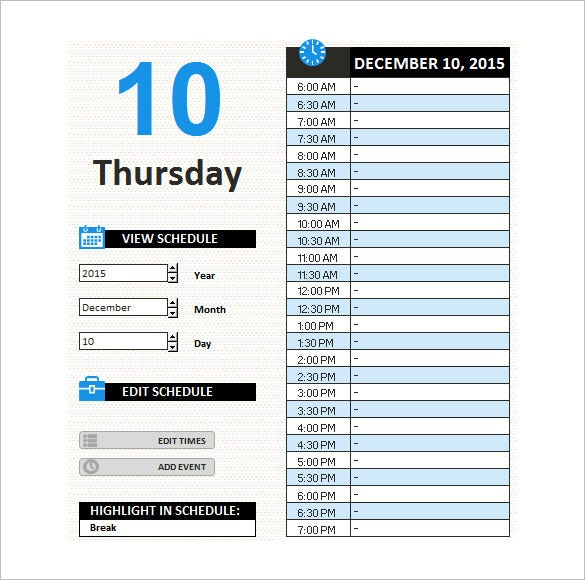 template for work schedule