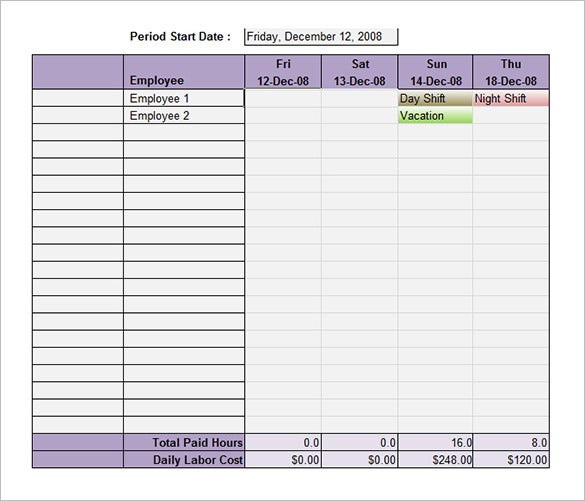 Employee Shift Schedule Template   Free Word Excel Pdf Format
