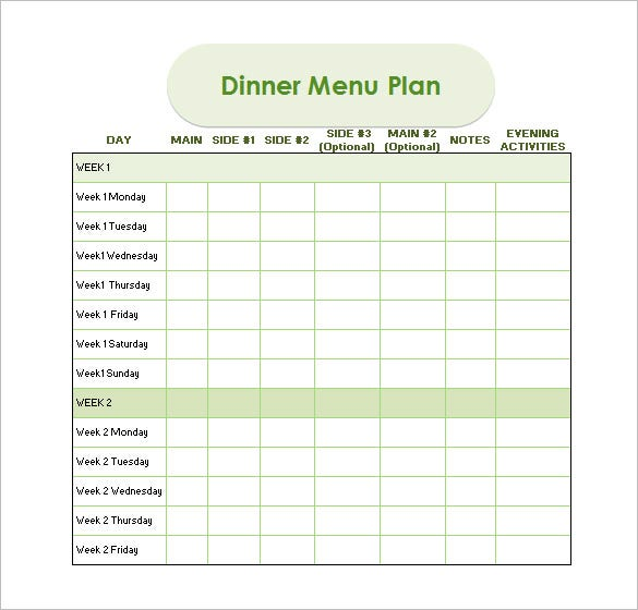 Editable Dinner Menu Schedule Template Excel Download