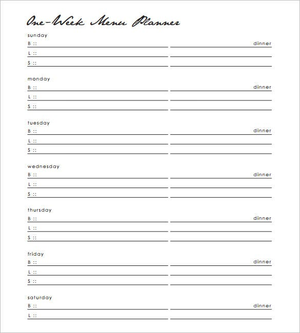 one week dinner menu schedule template