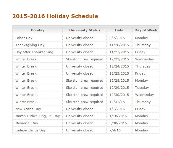 printable 2015 2016 holiday schedule