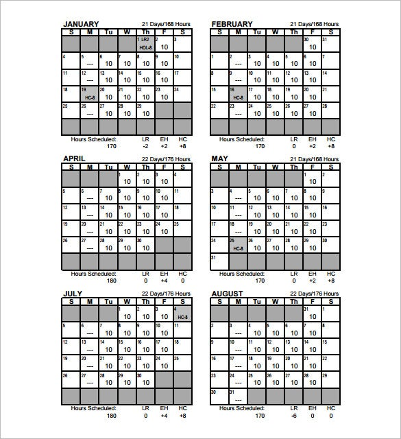 Monthly Work Schedule Template - 27+ Free Word, Excel, PDF Format ...