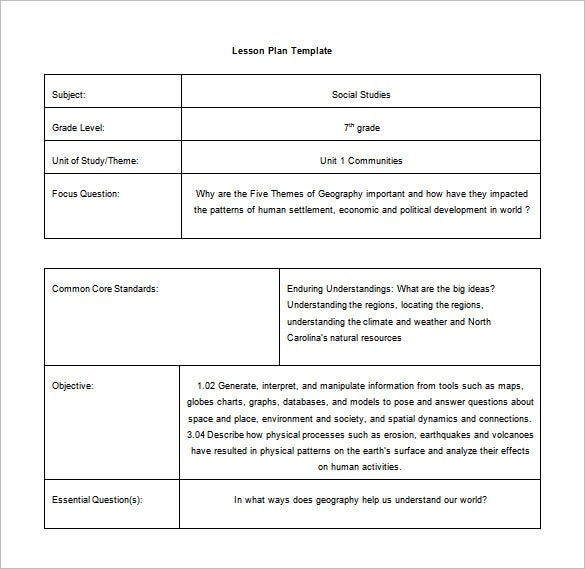 Common Core Lesson Plan Template – 9+ Free Sample, Example, Format ...