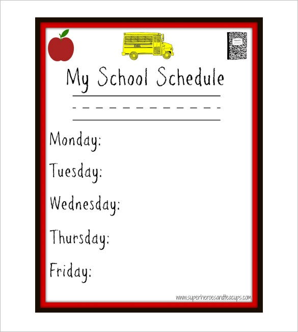 printable blank my weekly school schedule template download