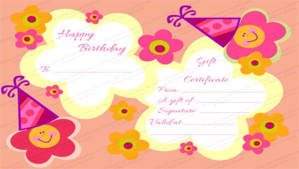 Birthday Gift Certificate Templates 16 Free Word PDF PSD Documents Download