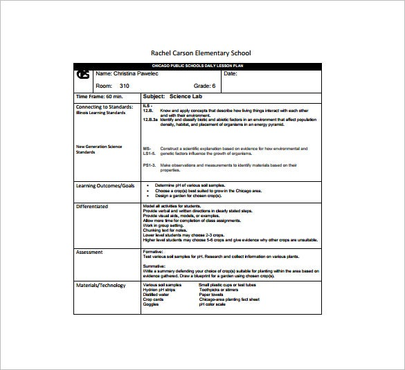 Detailed Unit Lesson Plan Template Elementary Reading Elementary