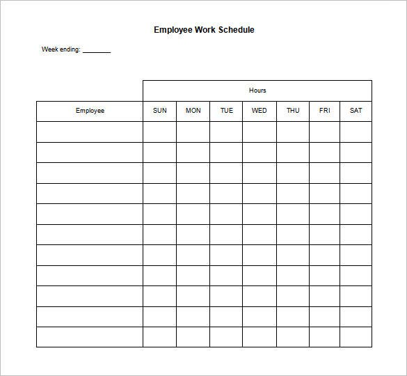 blank employee daily work schedule template word doc