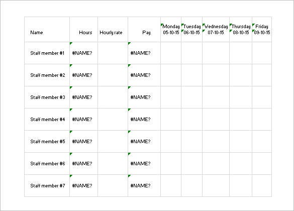free staff scheduling template