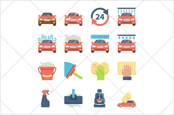 10 car wash flat icons