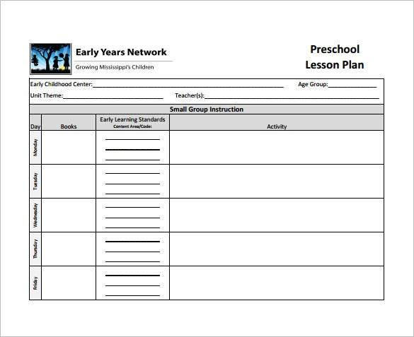 preschool teacher lesson plan example pdf download
