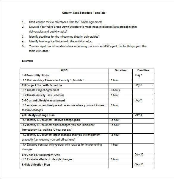 Activity Schedule Templates   Free Word Excel Pdf Format