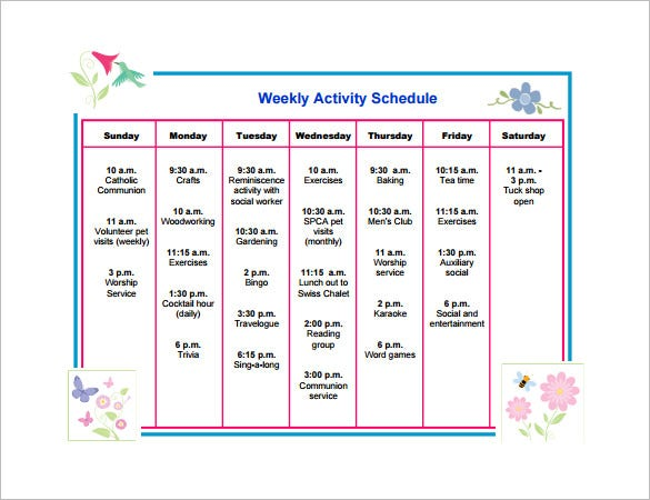Weekly activity schedule templates 8+ free sample, example.
