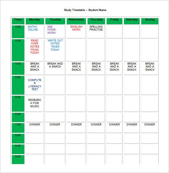 editable homework study timetable schedule template word format