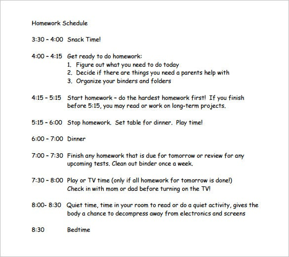 12  homework schedule templates