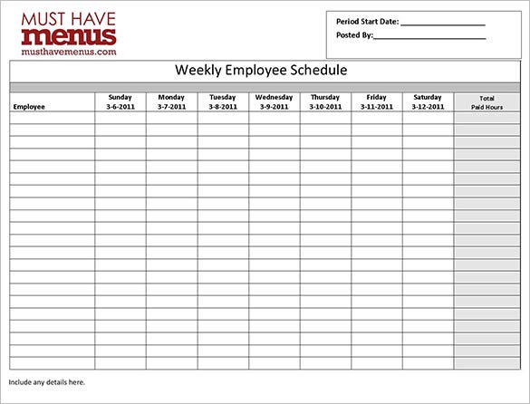 Employee Work Schedule Template   Free Word Excel Pdf Format