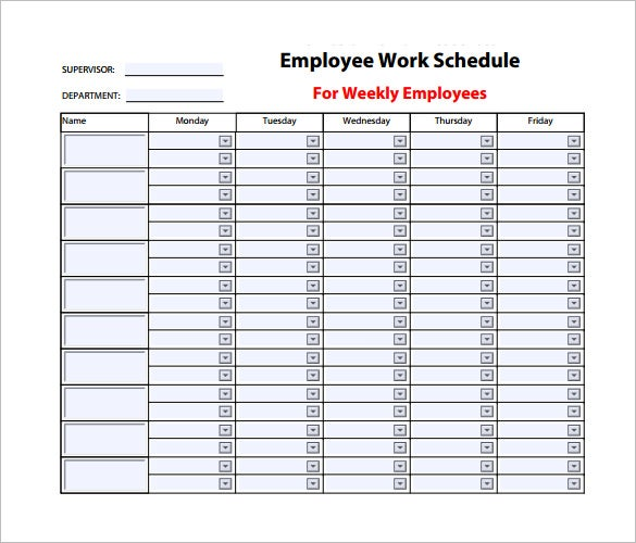 employee work schedule template  u2013 10  free word  excel  pdf format download