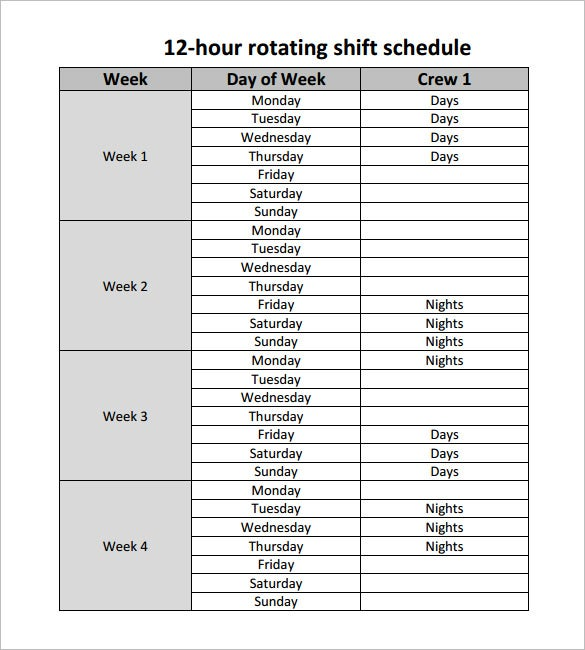 printable 12 hour rotating shift schedule template