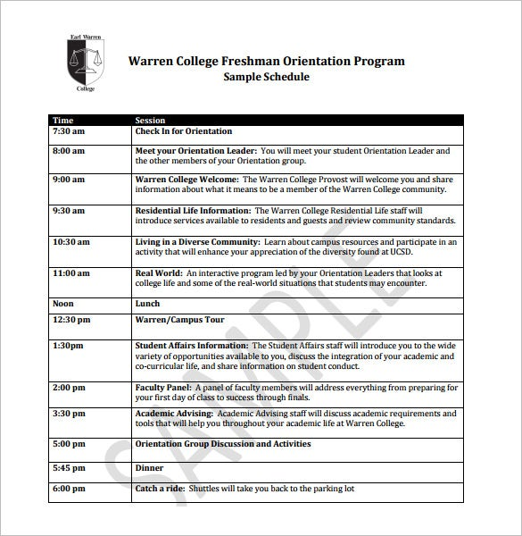 warren college freshman orientation schedule template pdf