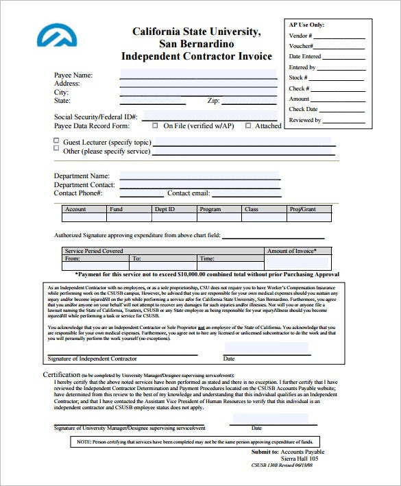 independent contractor invoice template pdf format