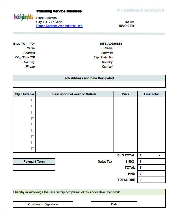 Invoice Form Word