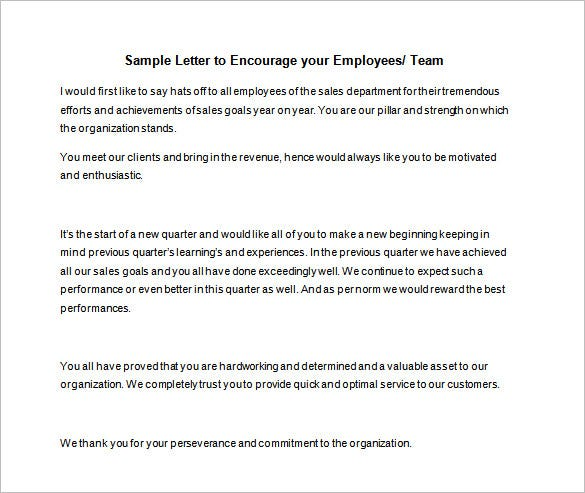 sample employee motivation letter template in word