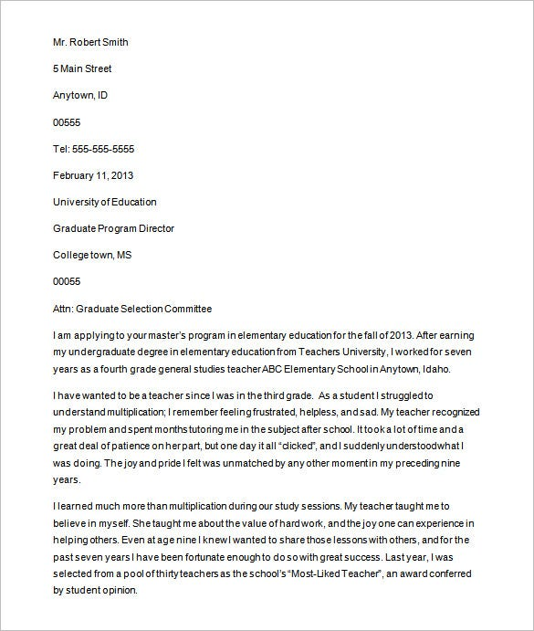 graduate school application letter of intent sample