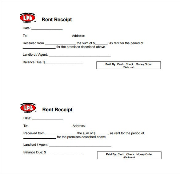 Rental Payment Receipt. Rent Receipt Template 8+ Free Word, Pdf
