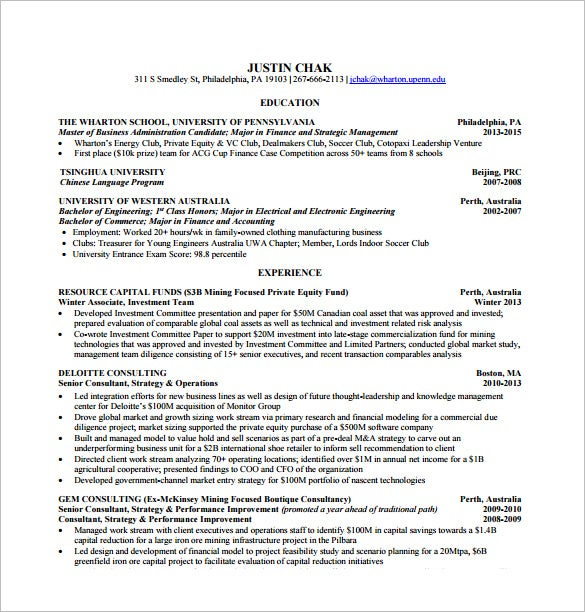 Wharton Resume Template Adorable 48 Free Word Excel PDF PSD Format Download