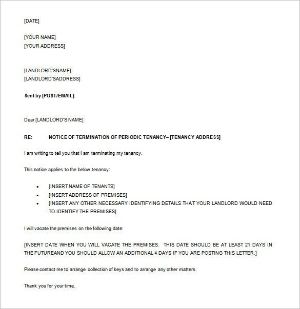periodic tenancy notice letter free word download
