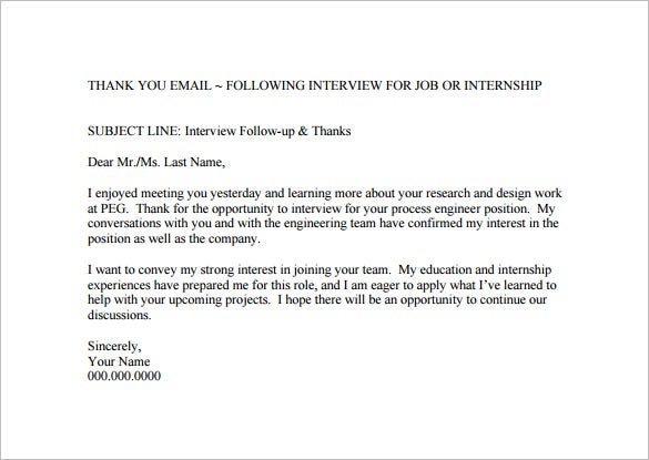 14 thank you email after interview doc excel pdf for Follow up email template for business