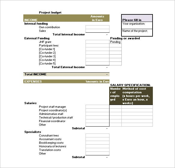 Budget Template 41 Free Word Excel PDF Format Download – Project Budget Template