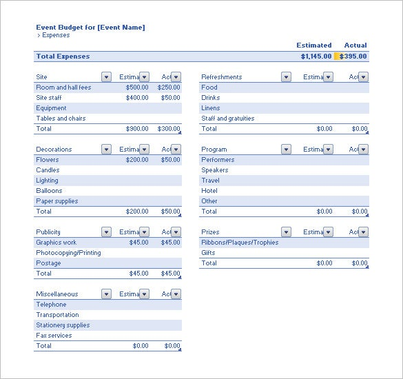 Budget Template   Free Word Excel Pdf Format Download