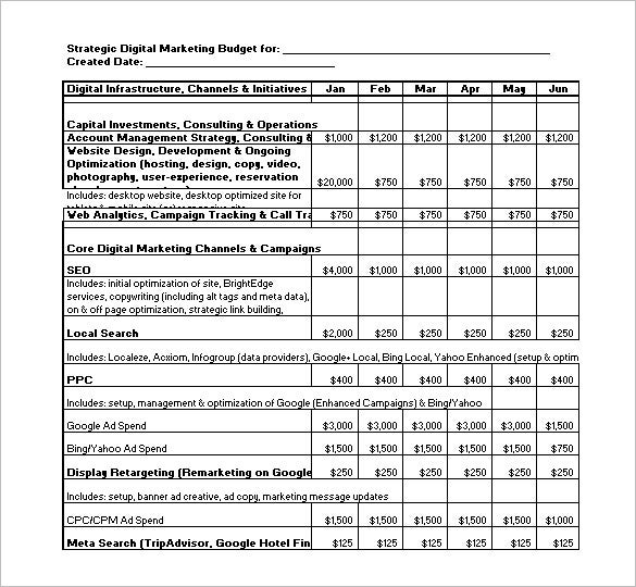sample strategic digital marketing budget template