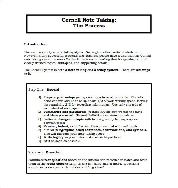 Cornell Notes Template 51 Free Word PDF Format Download – Study Notes Template