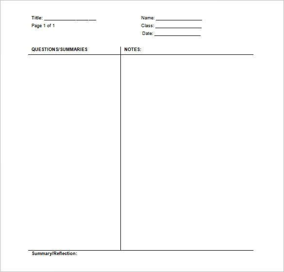 Cornell Notes Template - 51+ Free Word, Pdf Format Download | Free