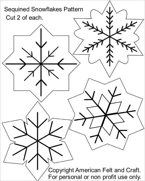 sequin snowflakes felt christmas template free