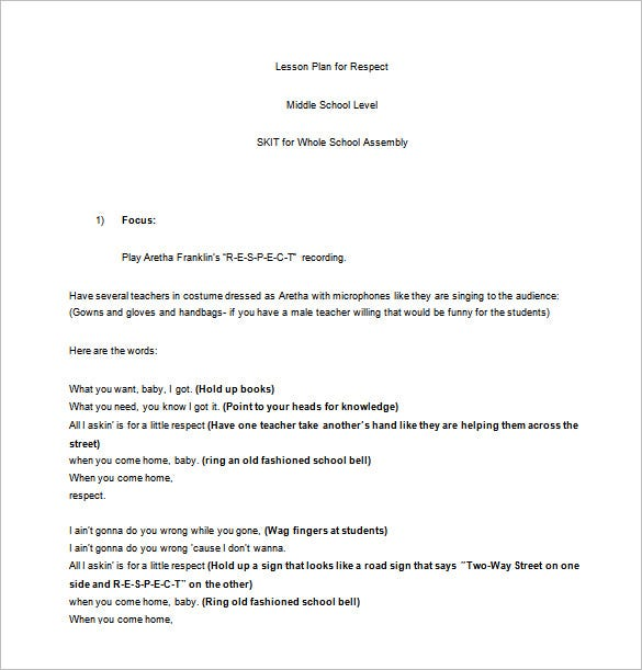 Middle School Lesson Plan Template Free Sample Example - Lesson plan templates for middle school