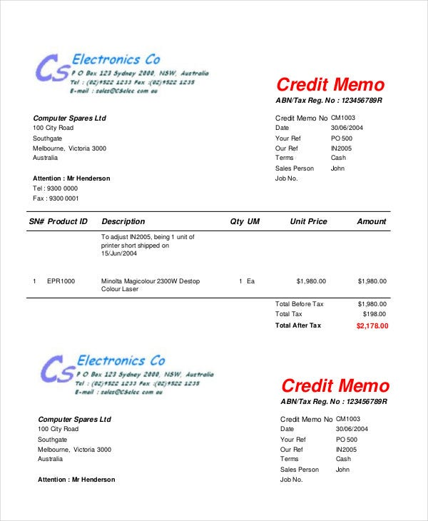 Credit Memo Template Creditmemowithgreengradientdesign Credit Memo