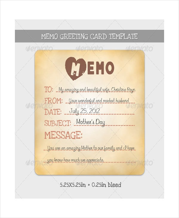 memo greeting card template