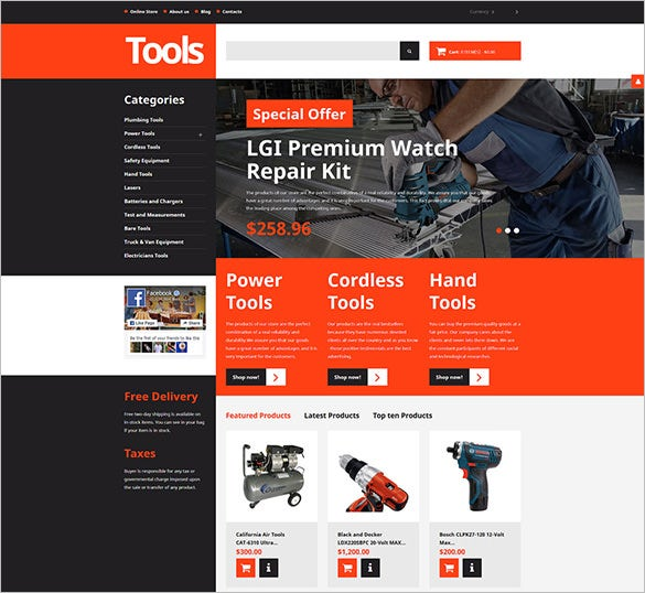 tools equipment responsive html5 template
