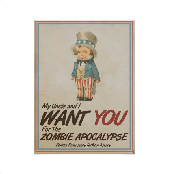 uncle sam we want you zombie apocalypse poster