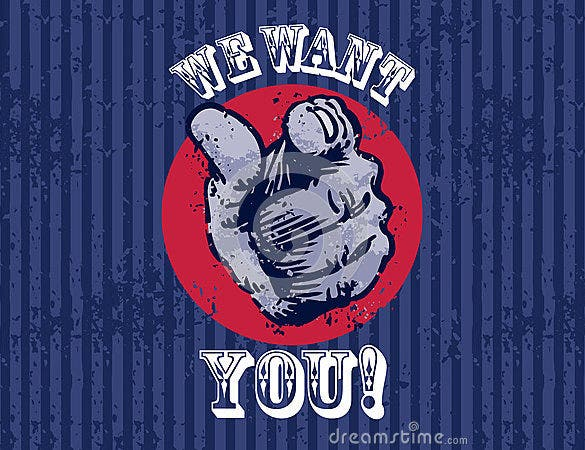 we want you poster with a finger pointing
