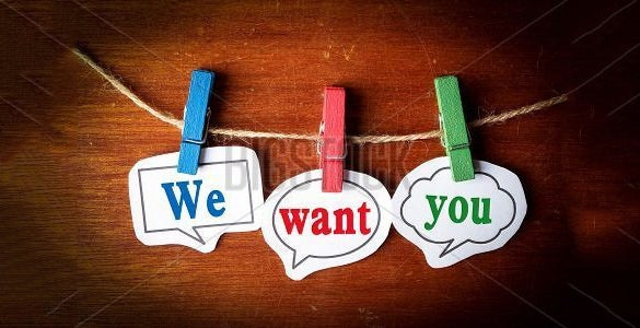 we want you poster wooden background