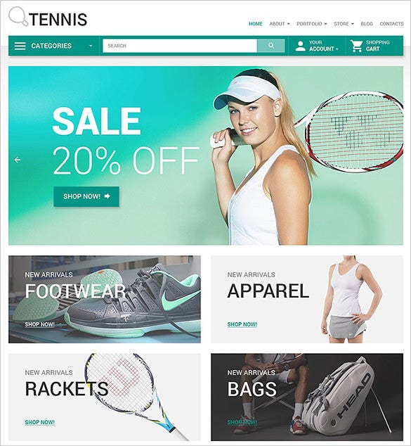 sport accessories woocommerce template