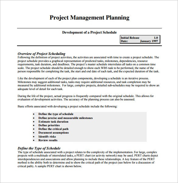 Project Management Schedule Template   Free Word Excel Pdf