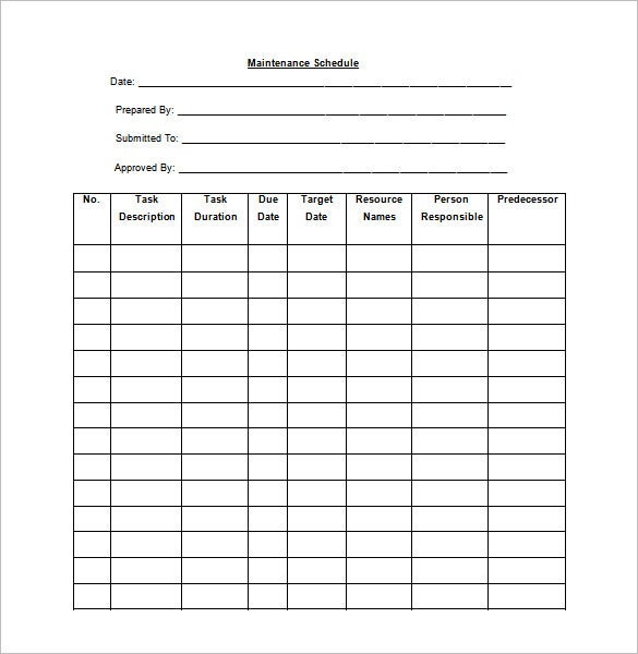 blank preventive maintenance schedule template free download