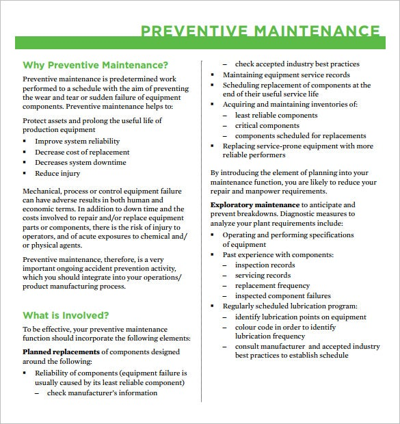 why preventive maintenance pdf format
