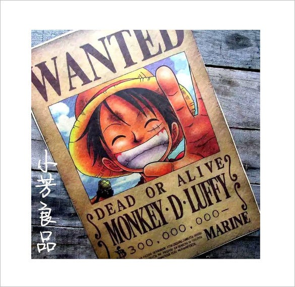 retro one piece wanted poster download