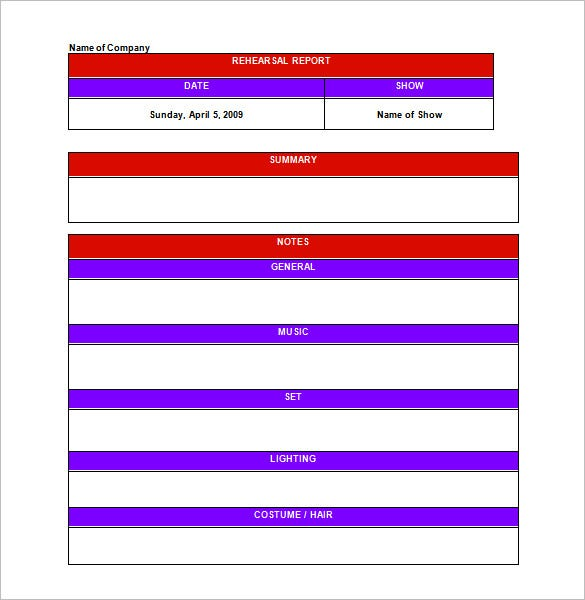 13+ Rehearsal Schedule Templates - Word, Excel, PDF | Free ...