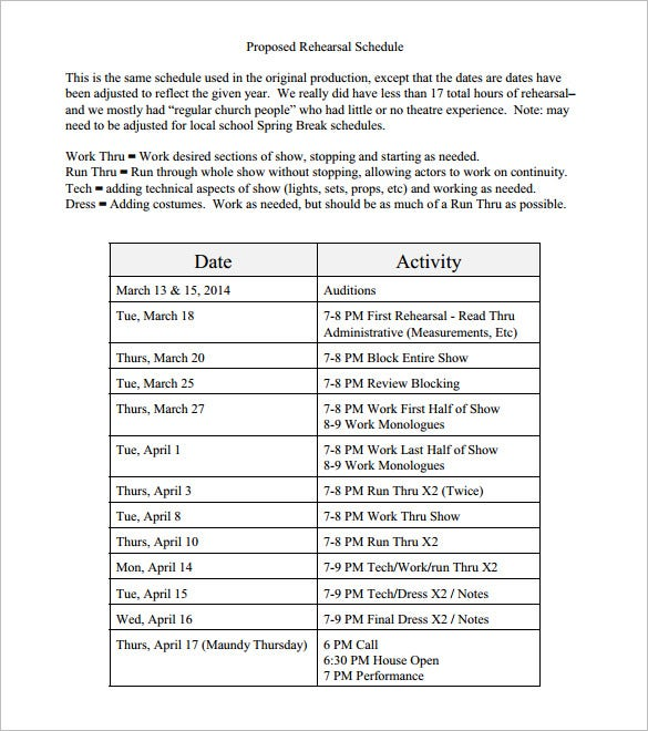 download proposed rehearsal schedule template pdf format